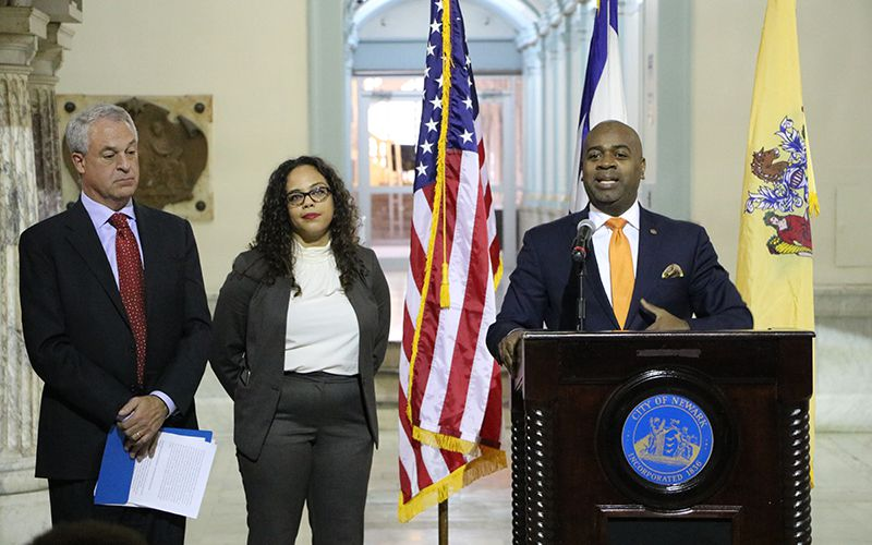 Mayor Ras Baraka announced the South Ward Community Schools Initiative in Dec. 2015 alongside then-Superintendent Christopher Cerf and one of the program's architects, Lauren Wells.