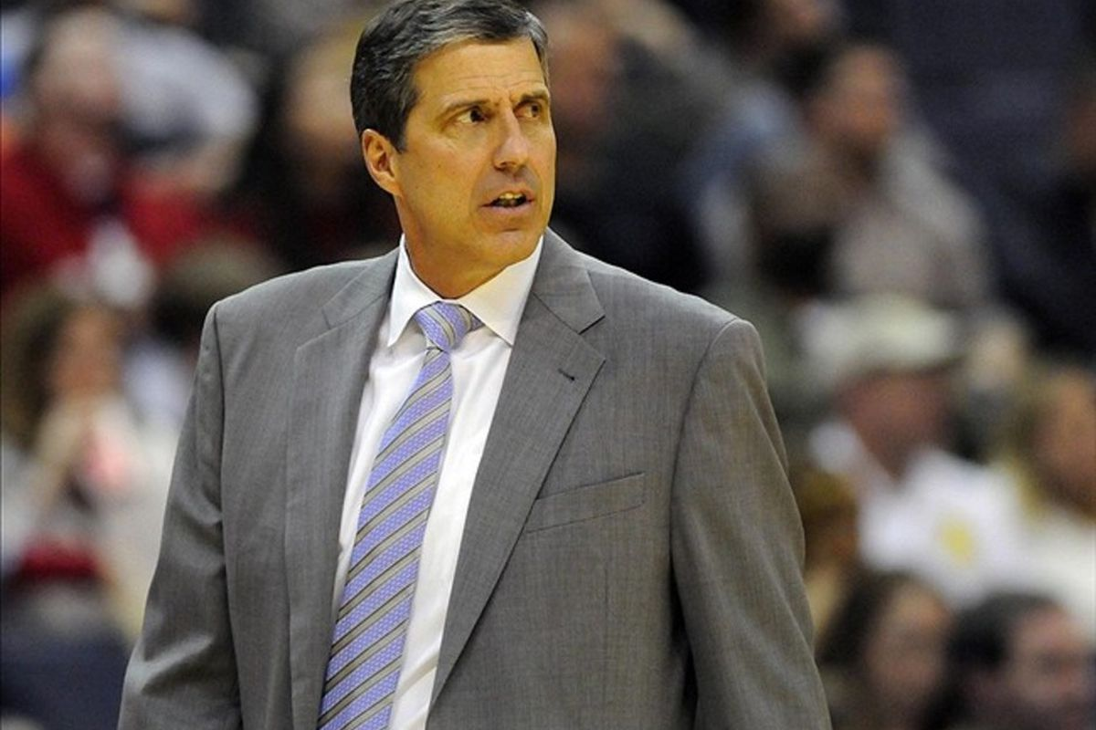 Mar 03, 2012; Washington, DC, USA; Washington Wizards head coach Randy Wittman reacts during the game against the Cleveland Cavaliers at the Verizon Center. Mandatory Credit: Brad Mills-US PRESSWIRE