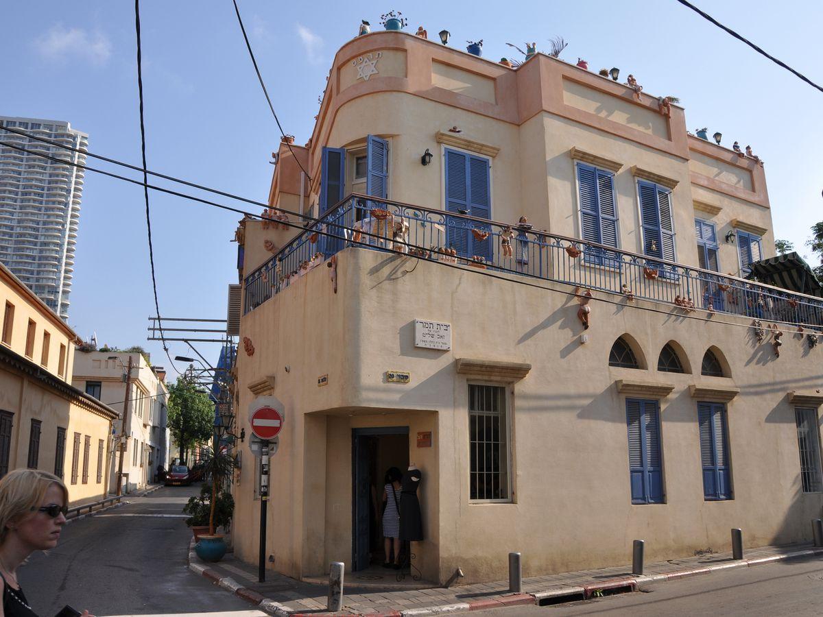 Shabazi Street in Tel Aviv. The facade is tan.