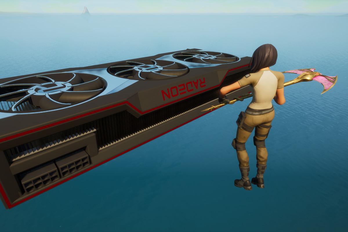 A Fortnite player floating near the in-game AMD GPU