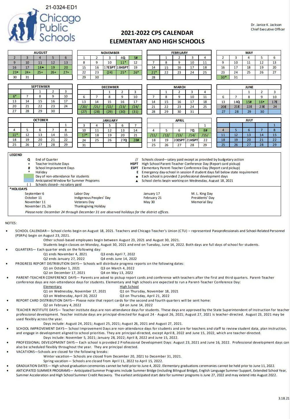 Chicago Public Schools Calendar 2022 23.Cps Calendar 2021 22 Here S The Full Schedule For Chicago Public Schools Chicago Sun Times