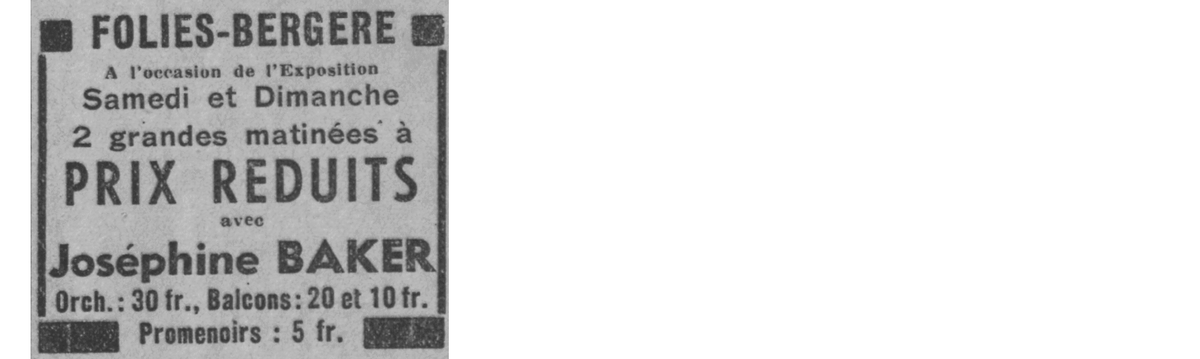 A newspaper ad promoting Baker's appearances throughout July at the Folies Bergere.