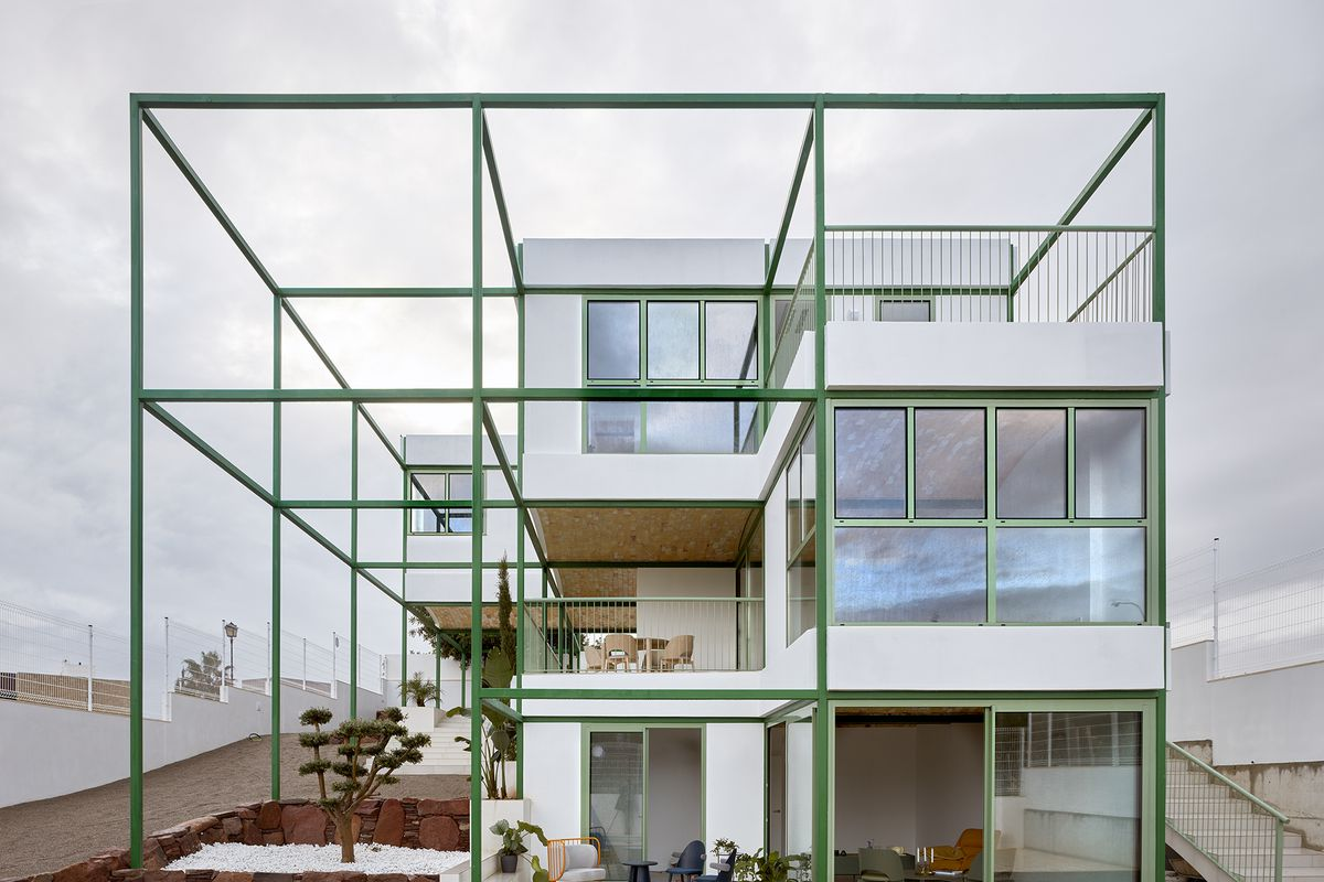 Green grid on outside of house.