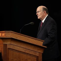 Elder Quentin L. Cook of the Quorum of the Twelve Apostles speaks during the Sunday afternoon session of the 190th Annual General Conference of The Church of Jesus Christ of Latter-day Saints in Salt Lake City on Sunday, April 5, 2020.