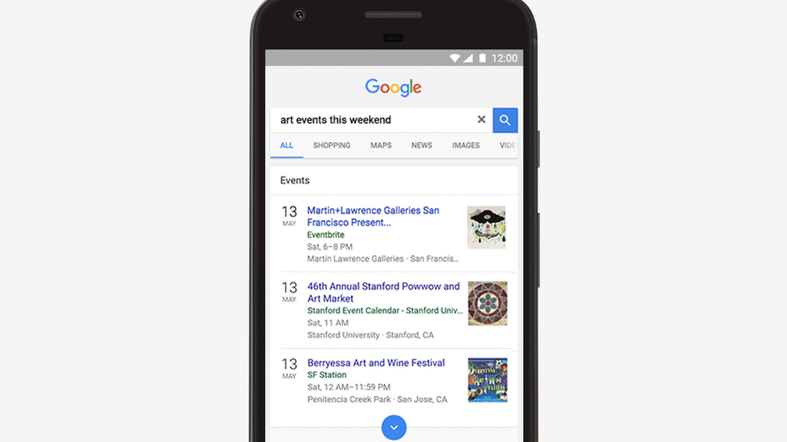 google adds local events to search results