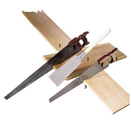<p><strong>1) Western-style ripsaw</strong><br><strong>Best For:</strong> Cutting solid wood with the grain.<br> <br><strong>Shown:</strong> Antique American carpenter's ripsaw with 5 1/2 teeth per inch (tpi). Cuts on the push stroke. Today traditional ripsaws are made only in England and are sold in North America mostly through tool catalogs.<br> <strong>2) Ryoba saw</strong><br><strong>Best For:</strong> Cutting solid wood, both with and across the grain. One edge has wide teeth for ripping, t