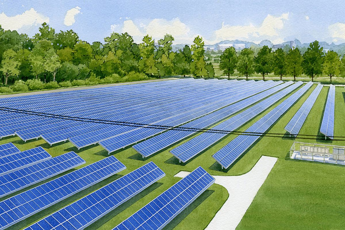 An artist's rendering of a new shared solar project at Grand Valley State University, in Michigan.