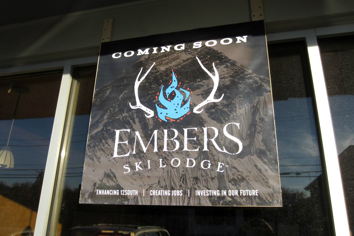 Temporary signage at the future home of Embers Ski Lodge
