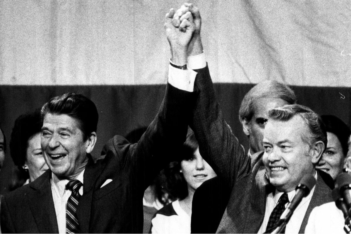 Republican presidential nominee Ronald Reagan campaigns with Cook County State's Attorney Bernard Carey at Maine West High School in Des Plaines in 1980. Neither won the county vote that year. It didn't matter for Reagan, but it meant the ballgame for Carey.