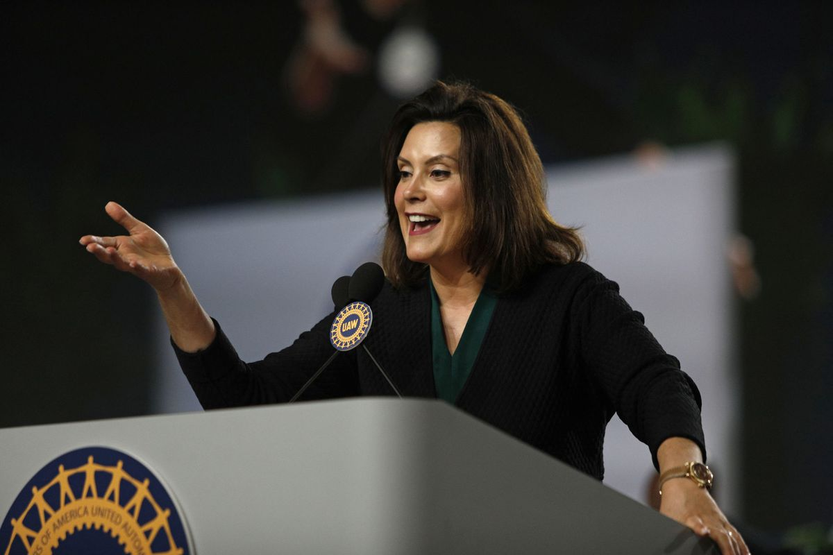 Gretchen Whitmer addressed the 37th United Auto Workers Constitutional Convention in June at Cobo Center in Detroit.