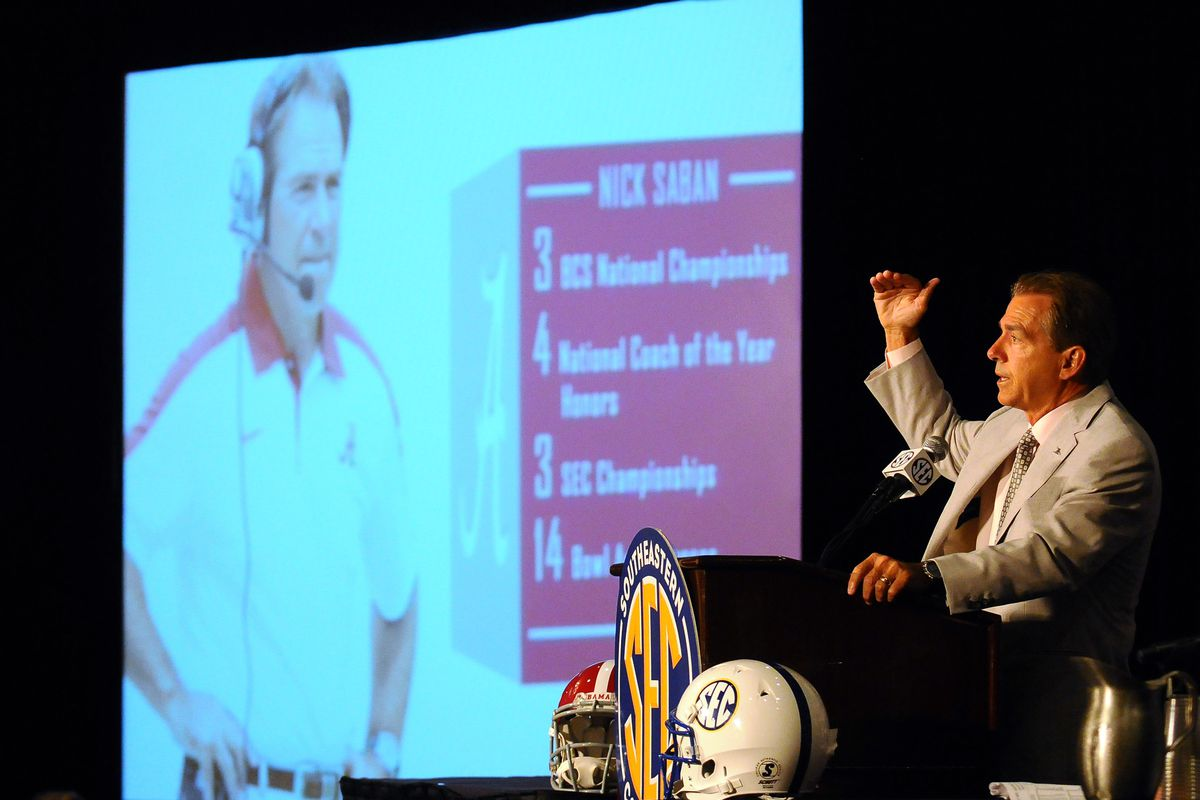 July 19, 2012; Hoover, AL, USA; Alabama Crimson Tide coach Nick Saban speaks at a press conference during the final day of the  2012 SEC media days event at the Wynfrey Hotel. Mandatory Credit: Kelly Lambert-US PRESSWIRE