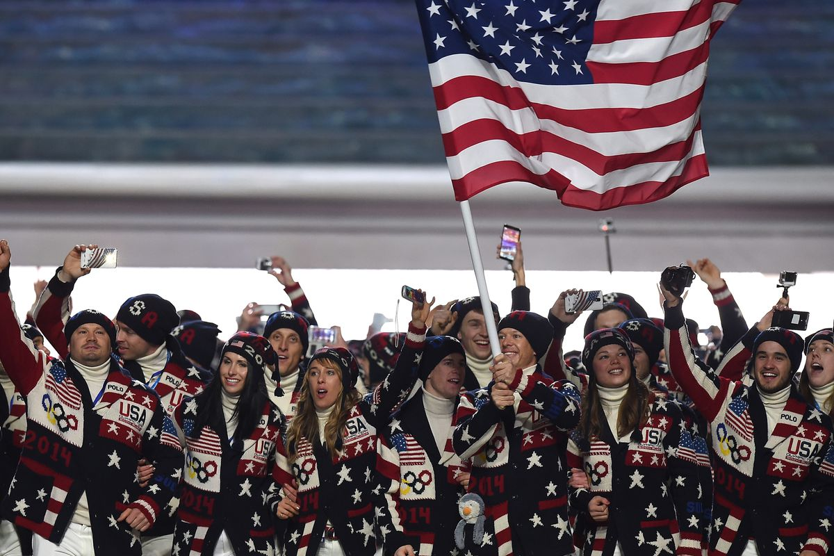 Members of the US Olympic Team during Opening Ceremonies of the 2014 Winter Olympics