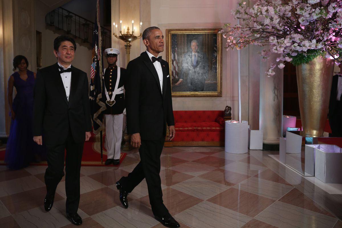 Japanese prime minister Shinzō Abe and US president Barack Obama.