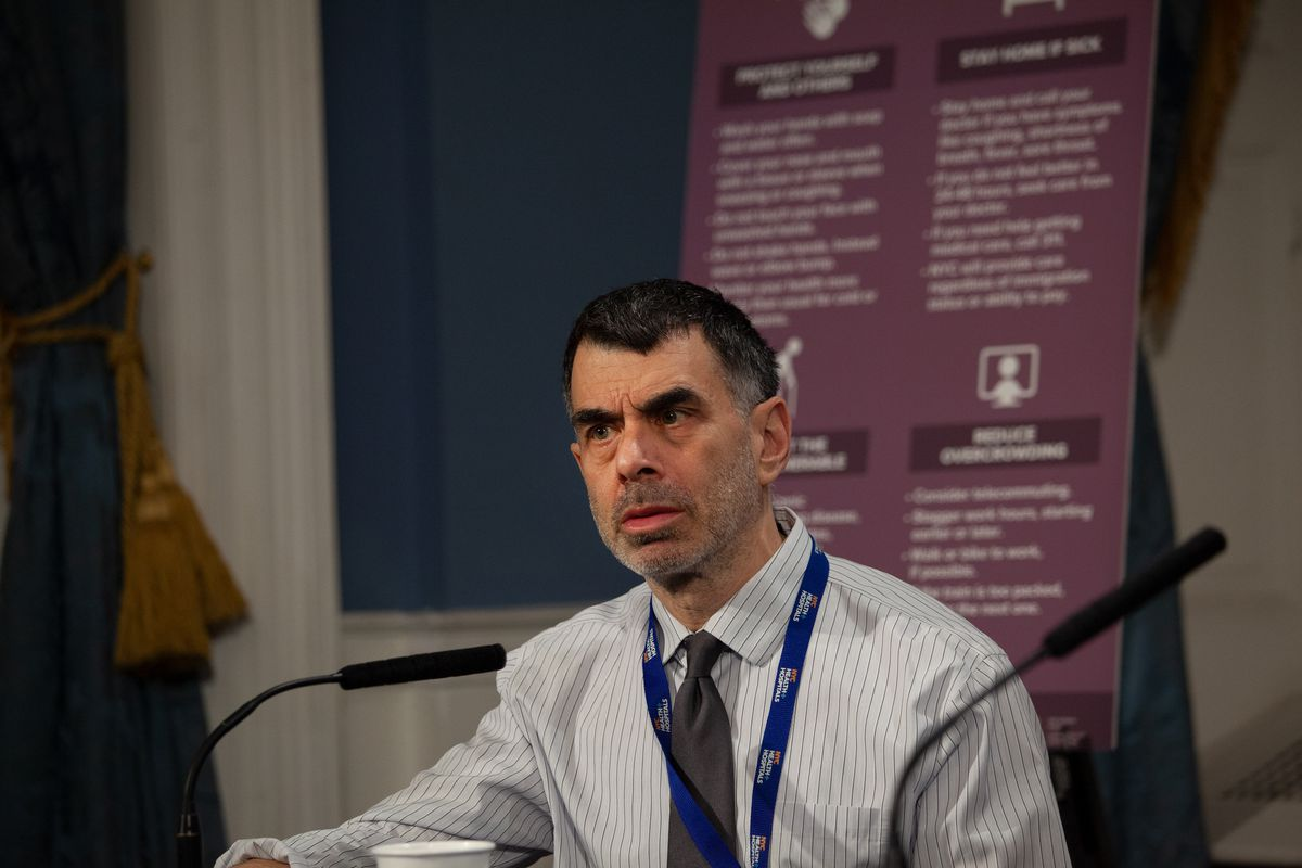Health + Hospitals President Mitchell Katz attends a City Hall press conference on the coronavirus, March 12, 2020.
