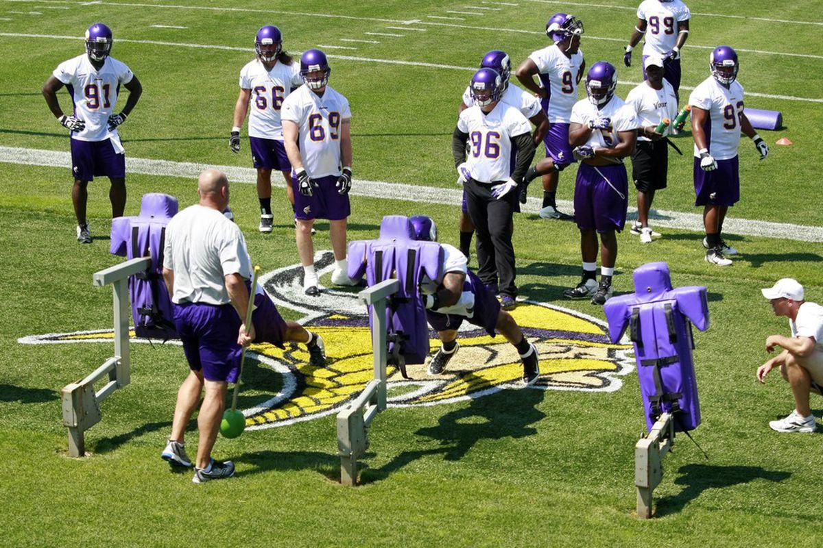 Jun 19, 2012; Eden Prairie, MN, USA; A general view as Minnesota Vikings defensive linemen work on drills with a blocking sled at Vikings minicamp at Winter Park. Mandatory Credit: Bruce Kluckhohn-US PRESSWIRE