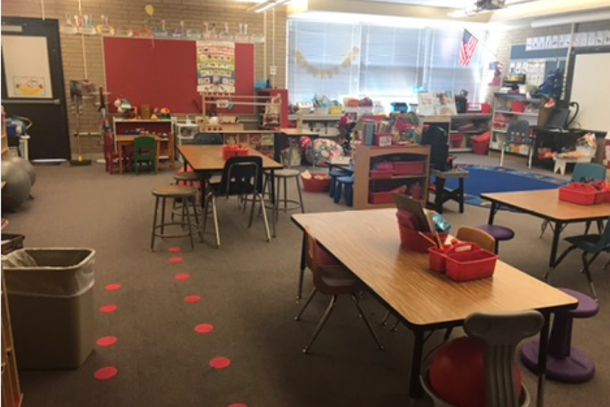 Aurora kindergarten teacher Laura Henry provided the pencil totes, floor dots, balls and wiggle seats, and everything you see on the shelves out of her own pocket.