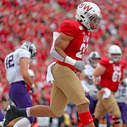 Jonathan Taylor after scoring UW's lone offensive TD on the day. Taylor leads the nation in touch downs. He would run for 119 net yards against NU.