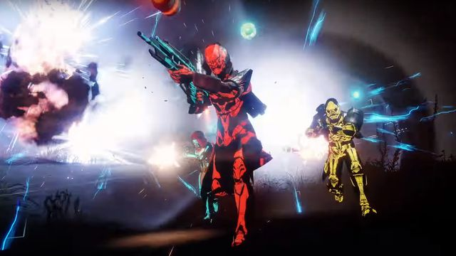 Three Destiny 2 Shadowkeep players rush into battle wearing skins from 2019's Festival of the Lost