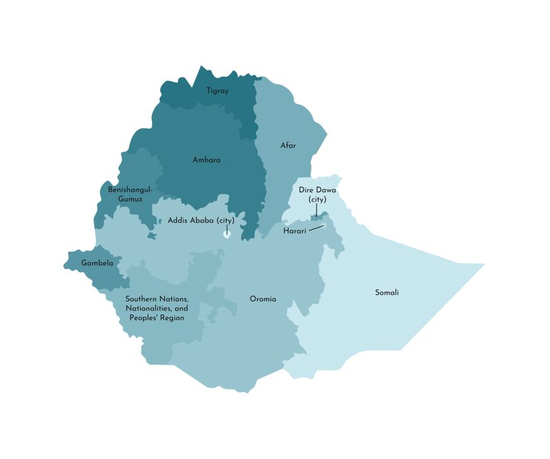 A map in shades of blue shows the regions of Ethiopia.