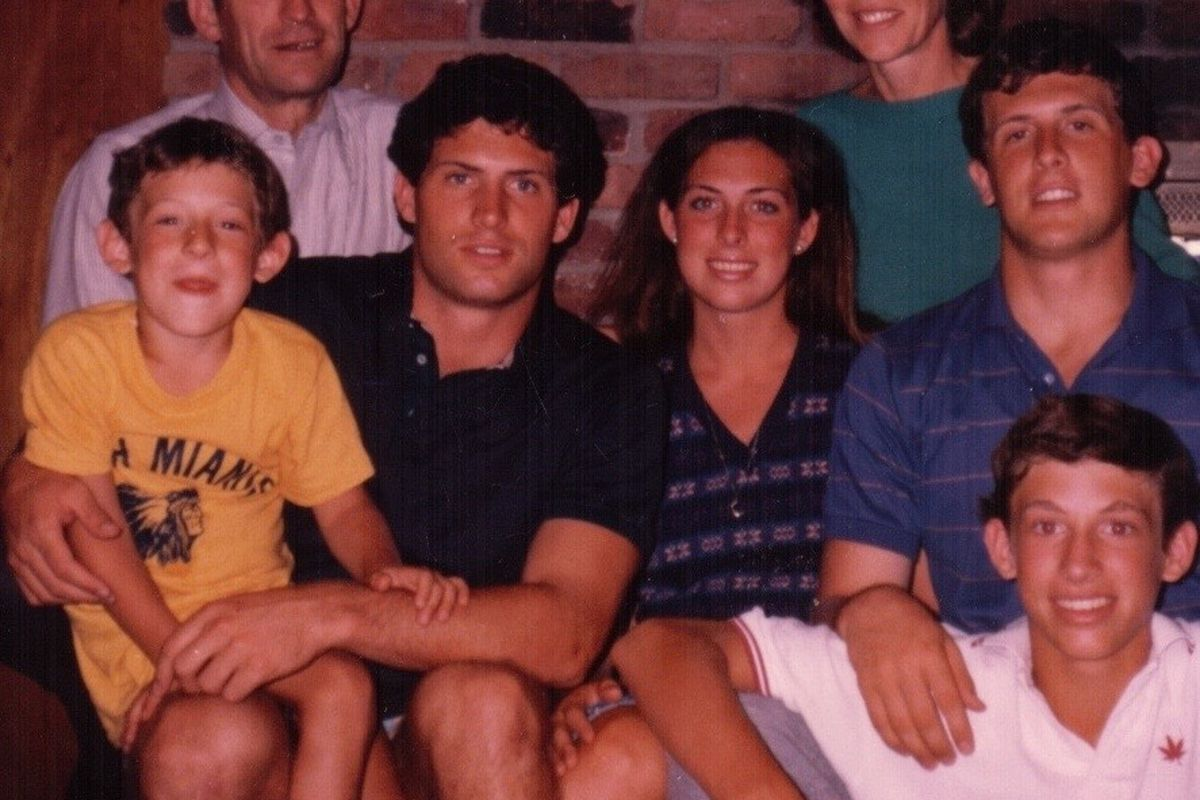 Jim, middle left, Steve, Melissa, Mike with Tom in the front and parents Grit and Sherry Young in back. This is a photo of the Young family in 1982 before the in-laws added their spectacular genes to our basic family unit. We were a bunch of ambitious but