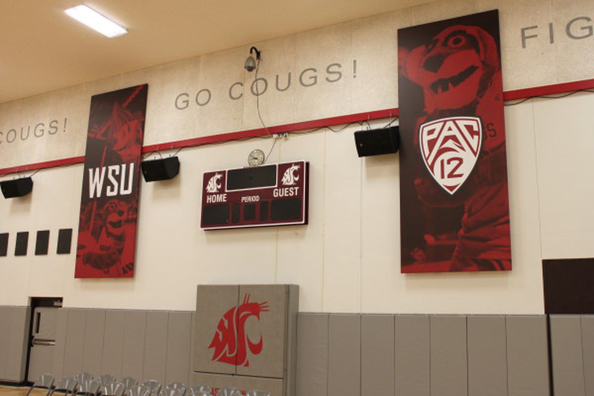 A look inside the WSU basketball teams' practice facility, which is in the process of getting a facelift as part of the athletic department's rebrand. <em>(Photo via WSUCougars.com)</em>