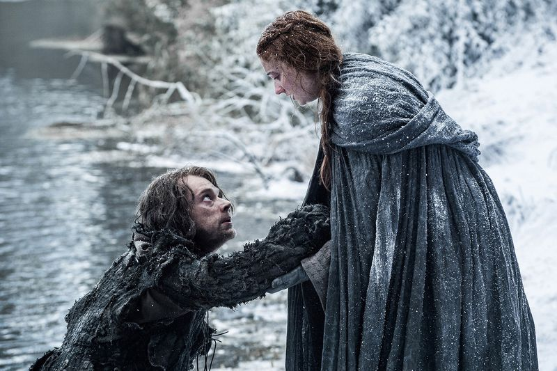 Theon Greyjoy and Sansa Stark on Game of Thrones