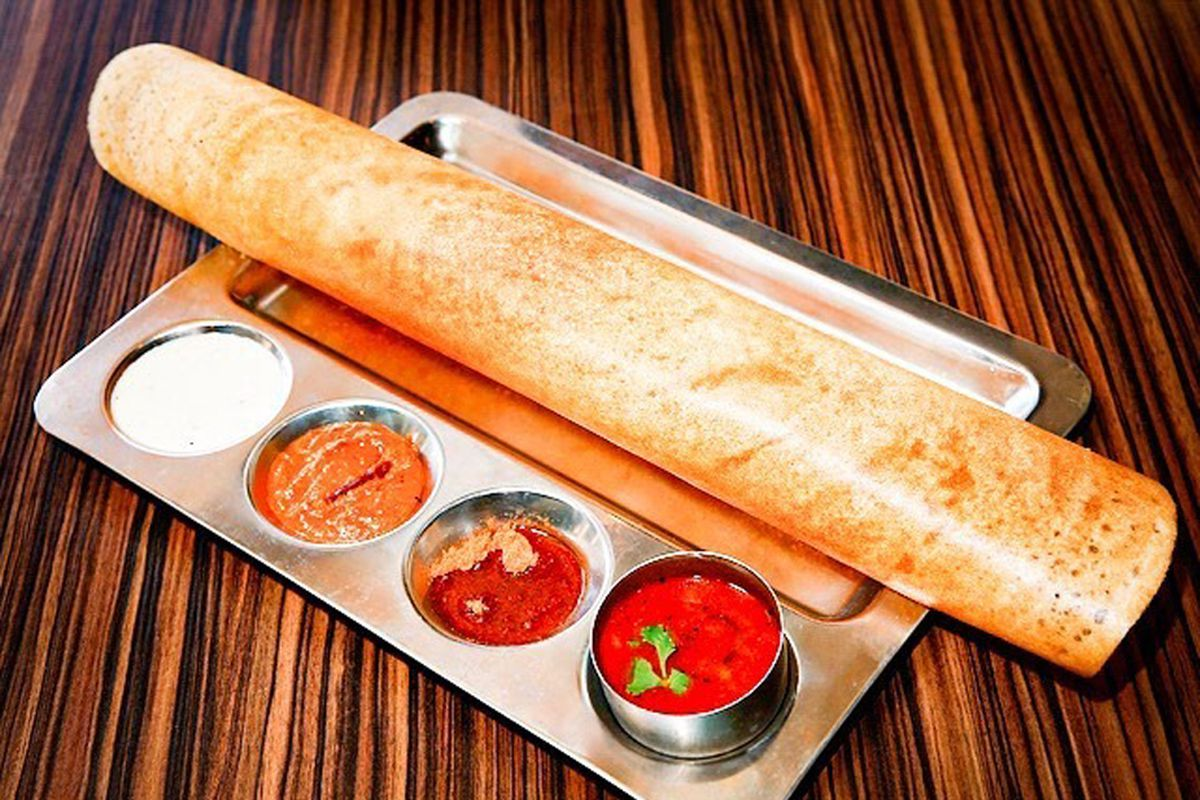 A vegetarian, gluten-free dosa at the Mint Indian Bistro.