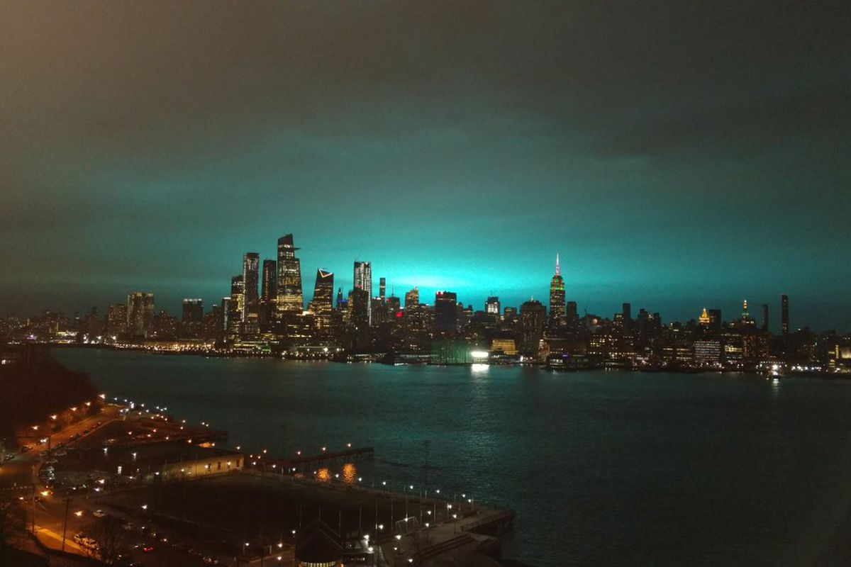 eerie blue glow above new york city caused by electric arc the verge