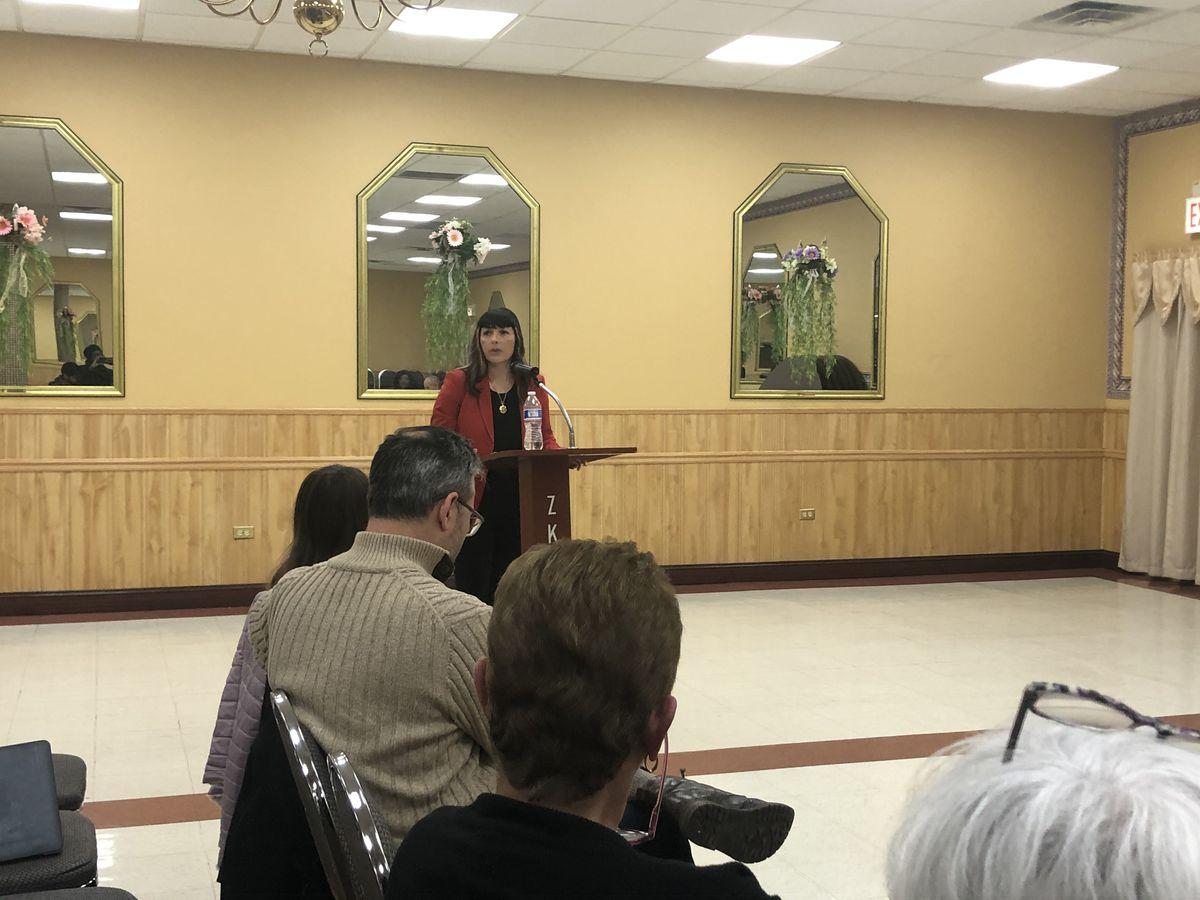 Eva-Dina Delgado addresses a group of Democratic Ward committeemen Friday.