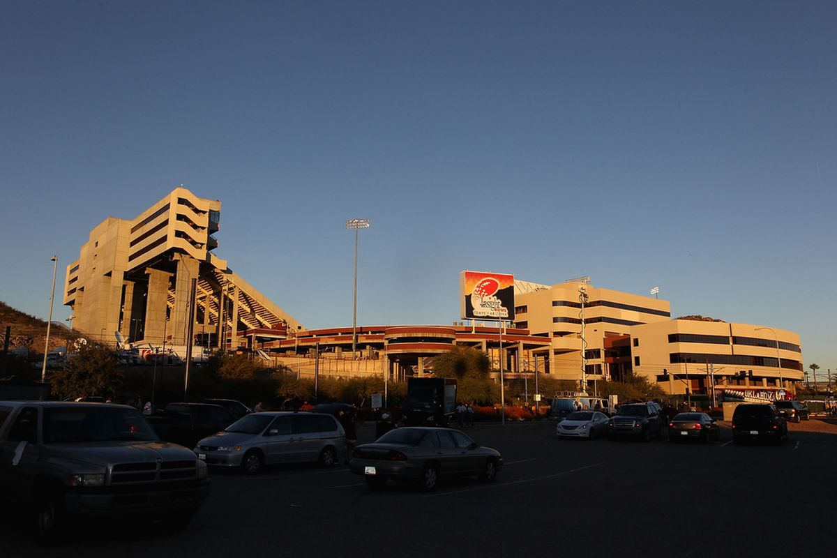 TEMPE, AZ - DECEMBER 30:  General view outside of Sun Devil Stadium before the Insight Bowl between the Oklahoma Sooners and the Iowa Hawkeyes on December 30, 2011 in Tempe, Arizona.  (Photo by Christian Petersen/Getty Images)