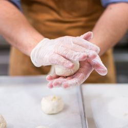 Curtin makes pancakes with Yukon gold potatoes, Greek yogurt, lemon and flour.