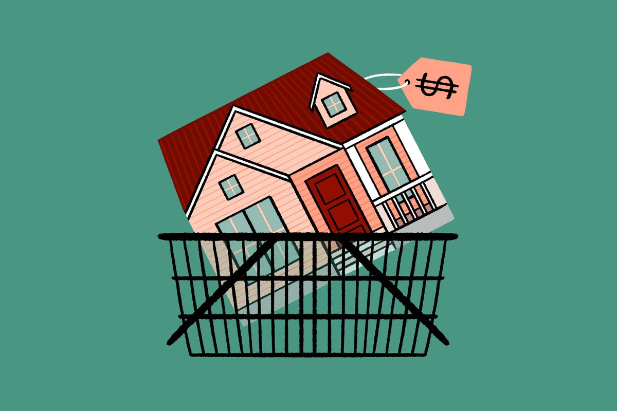 A drawing of a house in a shopping cart with a price tag on it.