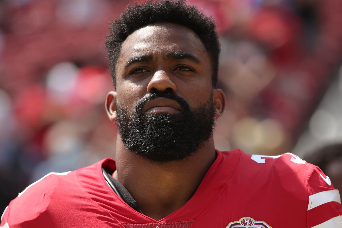 Raheem Mostert #31 of the San Francisco 49ers on the sidelines before the game against the Las Vegas Raiders at Levi's Stadium on August 29, 2021 in Santa Clara, California. The 49ers defeated the Raiders 34-10.