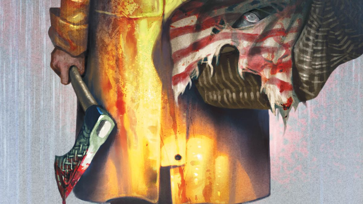 A figure in a yellow raincoat holds a bloody axe and a basket draped in a tattered American flag. A staring eye is visible from within a hole in the flag, on the cover of Basketful of Heads #1, DC Comics (2019).