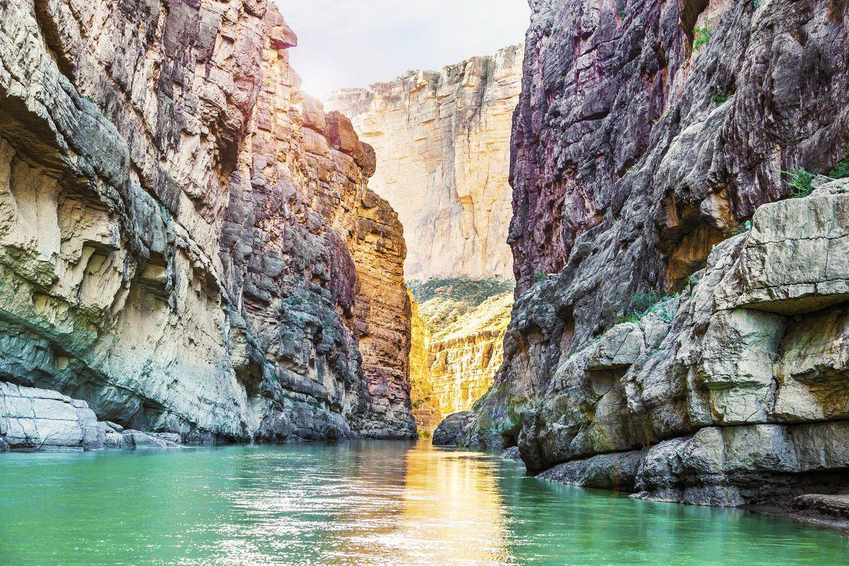 Santa Elena Canyon and Rio Grande river at Big Bend National Park.