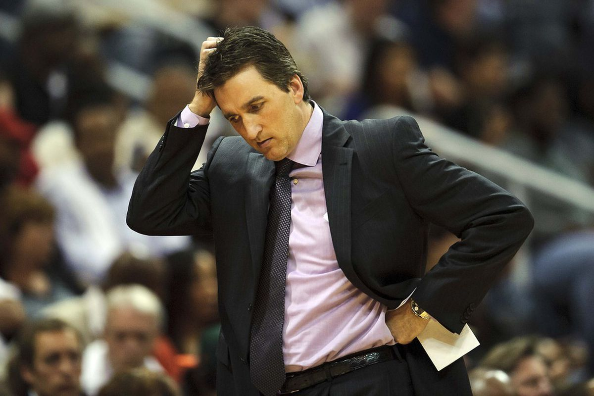 Apr 24, 2012; Atlanta, GA, USA; Los Angeles Clippers head coach Vinny Del Negro reacts to play against the Atlanta Hawks during the second half at Philips Arena. The Hawks won 109-102. Mandatory Credit: Paul Abell-US PRESSWIRE