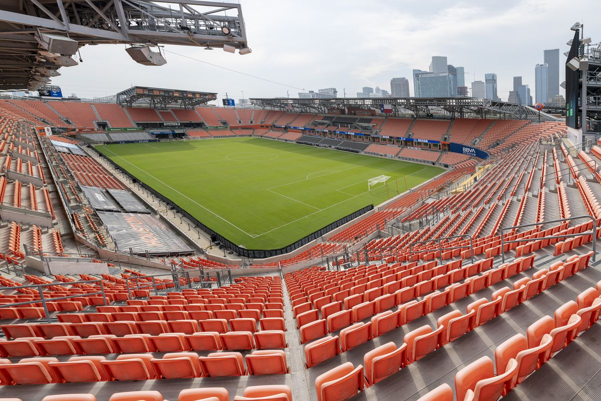 A photo of BBVA Stadium taken before a game between OL Reign and Houston Dash at BBVA Stadium on September 1, 2021 in Houston, Texas.