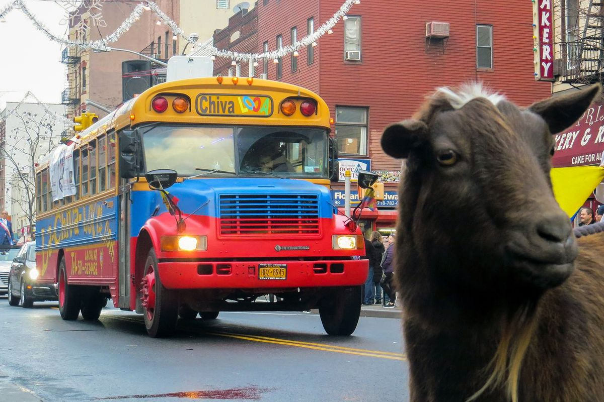 The La Chiva Loca party bus took part a Three Kings Day parade in Brooklyn.