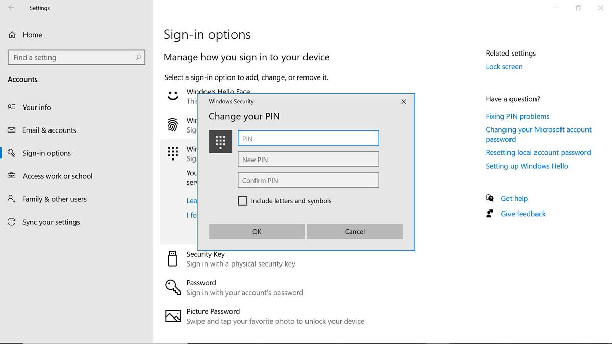 Change your PIN window