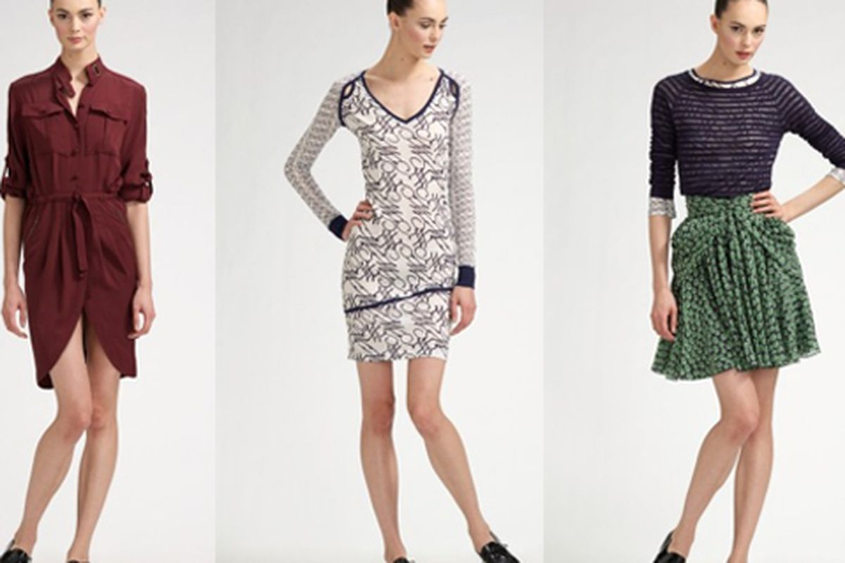 """The dress at left is the spendiest piece in the collection ($575), while the striped tee on the right is the cheapest. Images via <a href=""""http://www.saksfifthavenue.com/main/WorldOfDesigner.jsp?FOLDER%3C%3Efolder_id=2534374306434246&amp;bmUID=12656"""