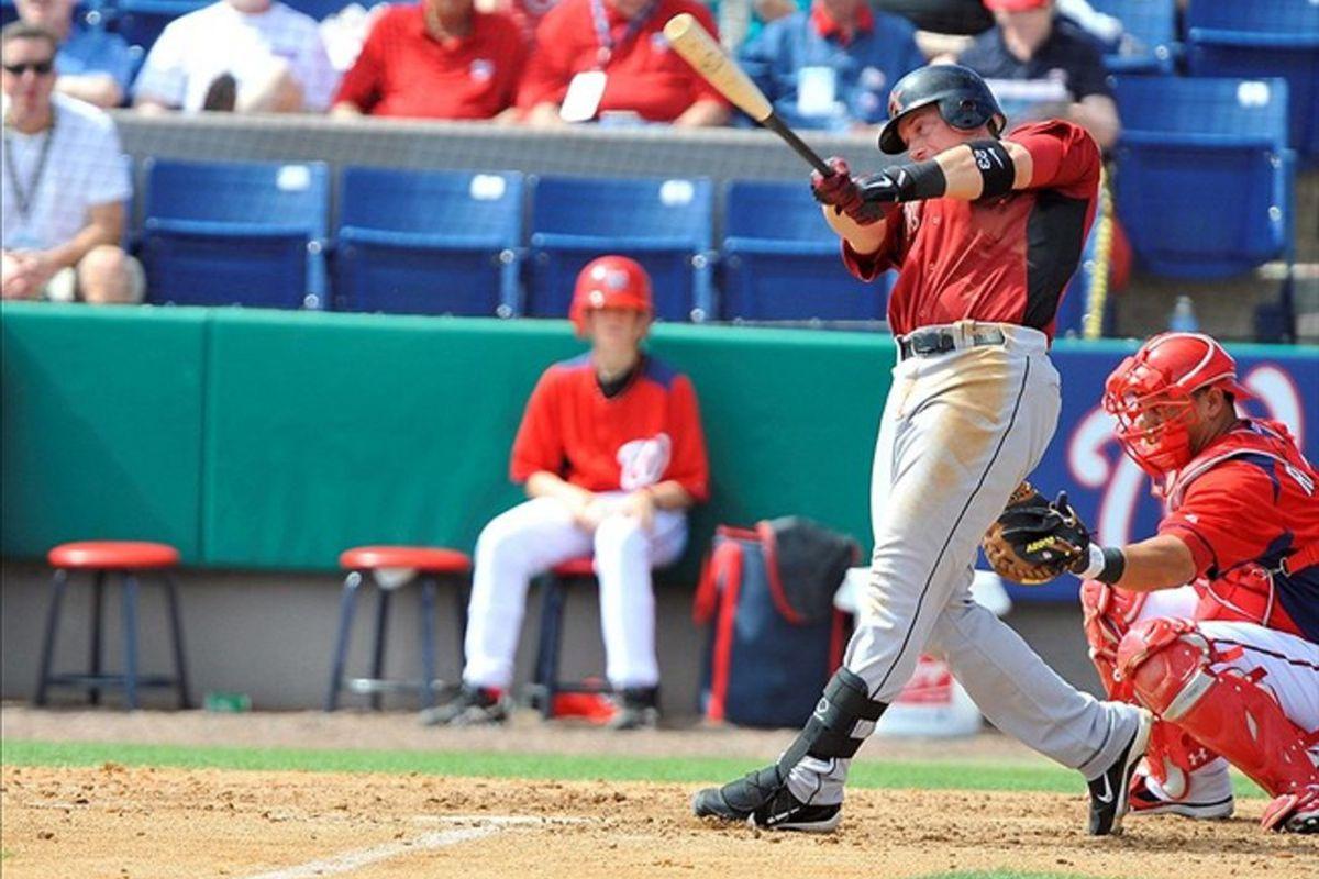 March 08, 2012; Melbourne, FL, USA;   Houston Astros third baseman Chris Johnson (23) at bat during the spring training game against the Washington Nationals at Space Coast Stadium. Mandatory Credit: Brad Barr-US PRESSWIRE