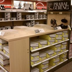 The shoes were missing from their display stands, leading us to believe shoppers purchased the sample shoes.