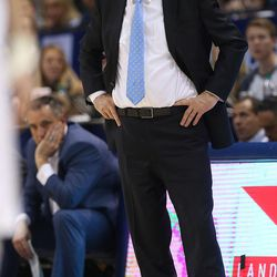 Brigham Young Cougars head coach Dave Rose looks up at the scoreboard as BYU and Gonzaga play in an NCAA basketball game in the Marriott Center in Provo on Saturday, Feb. 24, 2018. Gonzaga won 79-65.