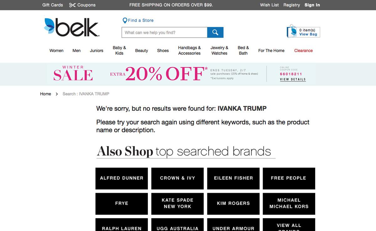 Belk Is the Next Department Store to Stop Carrying Ivanka Trump ...