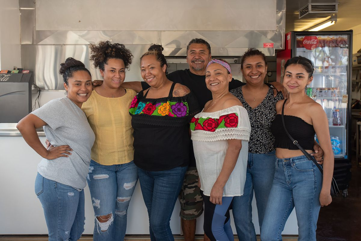 Tamales Elena family with five daughters, Maria Elena Lorenzo and Juan Irra.