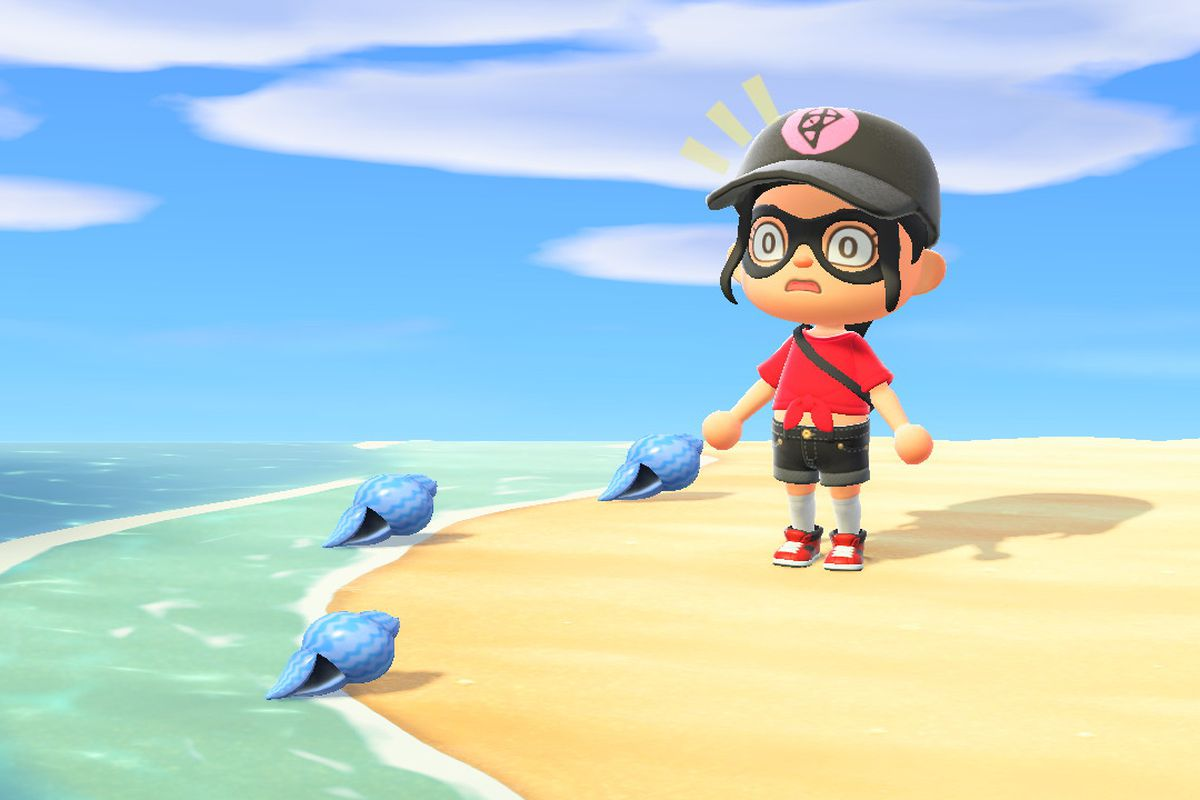 An Animal Crossing character stares in shock at blue Summer Shells