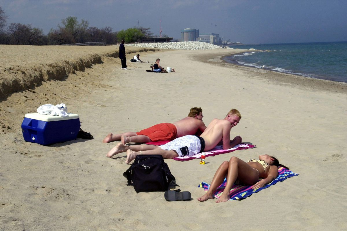 People laying on the beach