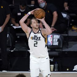 Utah Jazz's Joe Ingles (2) shoots during the second half of an NBA basketball game against the New Orleans Pelicans Thursday, July 30, 2020, in Lake Buena Vista, Fla. (AP Photo/Ashley Landis, Pool)