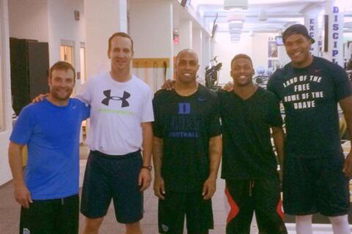 Broncos Wes Welker, Peyton Manning, Andre Caldwell, Emmanuel Sanders, and Julius Thomas