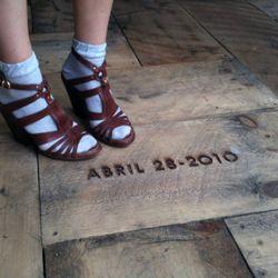 Bethany's Miista heels and her daughter's birthdate